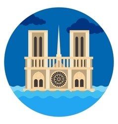 Notre Dame Cathedral flat vector image vector image