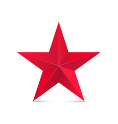 red star 3d isolated on white vector image vector image