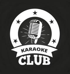 retro karaoke club label vector image