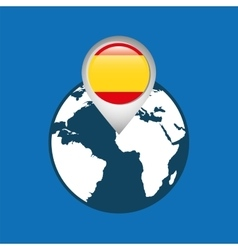world map with pointer flag spain vector image vector image