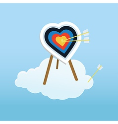 Cupid s training target standing on a cloud vector image