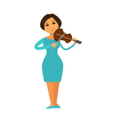 orchestra jazz band woman playing violin fiddle vector image