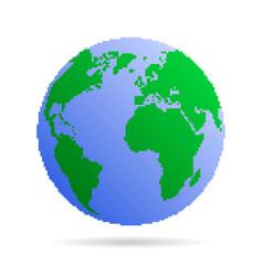 pixel earth globe vector image vector image