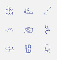 set of 9 editable travel icons includes symbols vector image vector image