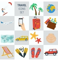 Travel vacation square 15 icons vector image vector image