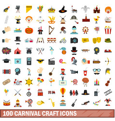 100 carnival craft icons set flat style vector