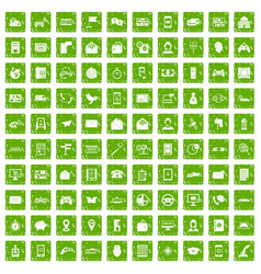 100 telephone icons set grunge green vector image