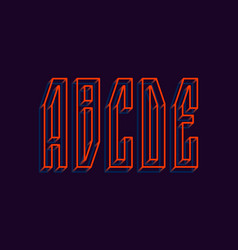 A b c d e orange blue wireframe 3d letters vector