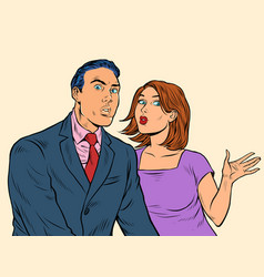 a surprised couple a man and a woman vector image