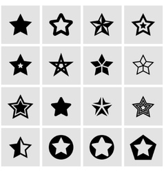 black stars icon set vector image