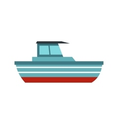 Blue motorboat icon flat style vector