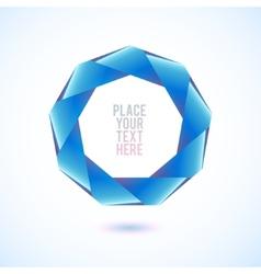 Blue nonagon shape on white background vector image
