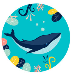 blue whale under water in round background flat vector image