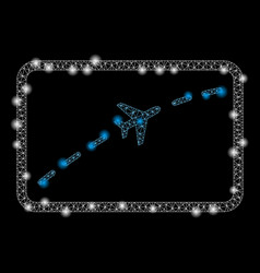 Bright mesh 2d plane route with flare spots vector
