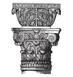 Byzantine capital round vintage engraving vector