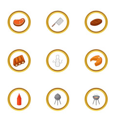 camping cooking icons set cartoon style vector image