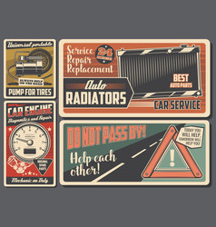 Car service and auto repair retro signboard vector
