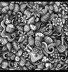 cartoon cute doodles hand drawn happy easter vector image