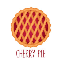 cherry pie on white background top view vector image