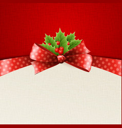 Christmas decoration with holly leaves vector