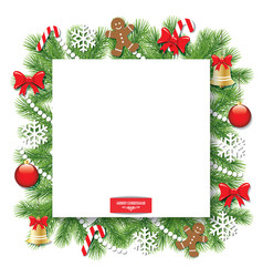 christmas decorative square frame vector image