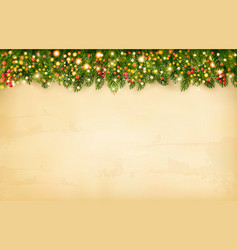christmas holiday decoration with branches of vector image