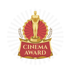 Cinema award golden trophy with bright background vector