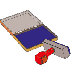 Classic rubber stamp with opened blue ink pad vector
