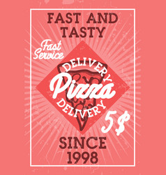 color vintage pizza delivery banner vector image