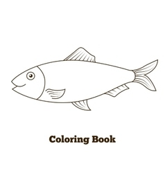 Coloring book herring fish cartoon vector image