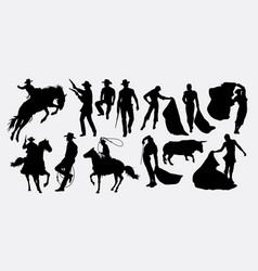 cowboy and matador activity silhouettes vector image