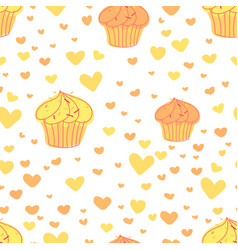 cupcakes pattern background cute bakery pattern vector image