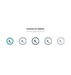 Curved up arrow icon in different style two vector