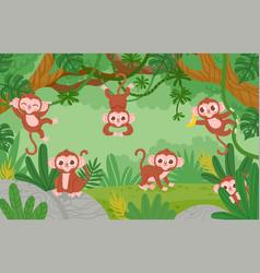 Cute monkeys hanging on lianas trees in jungle vector