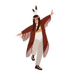 dancing american indian wearing ethnic clothes vector image