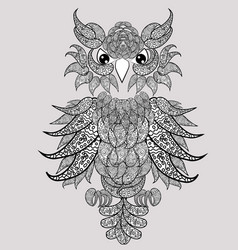 decorative owl adult antistress coloring page vector image