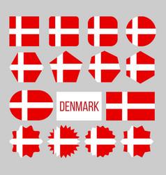 Denmark flag collection figure icons set vector