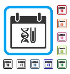 Dna analysis calendar day framed icon vector
