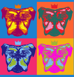 dog with a crown in pop art style vector image
