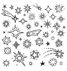 Doodle stars set isolated on white hand vector