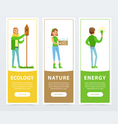 ecological lifestyle banners with people vector image