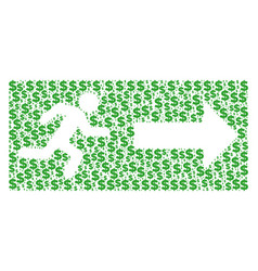 Emergency exit composition of dollar and dots vector