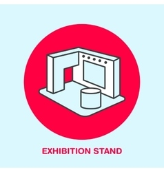 Exhibition banner stand line icon vector