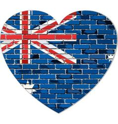 Flag of Australia on a brick wall in heart shape vector image vector image