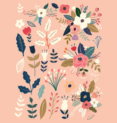 Flowers bouqets vector
