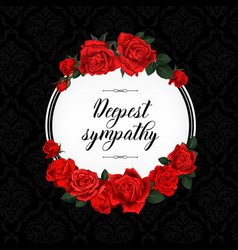 funeral card with red rose sketch flowers wreath vector image