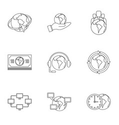 Global plan icon set outline style vector