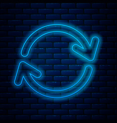 Glowing neon line refresh icon isolated on brick vector