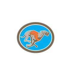 Greyhound Dog Racing Circle Retro vector