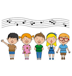 group of children singing vector image